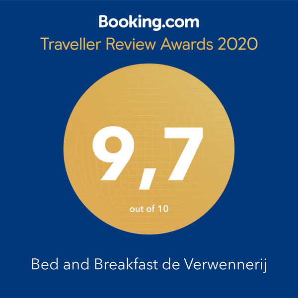 Traveller Review Awards 2020, een 9.7 uit 10 voor Bed and Breakfast de Verwennerij