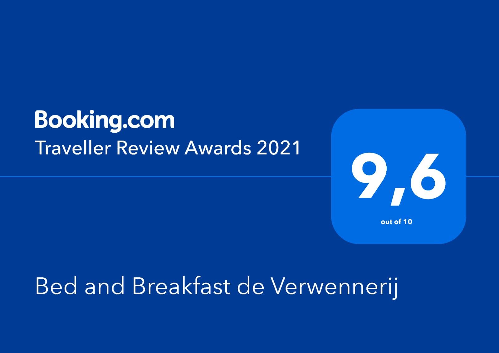 Traveller Review Awards 2020, een 9.7 uit 10 voor Bed and Breakfast de Verwennerij